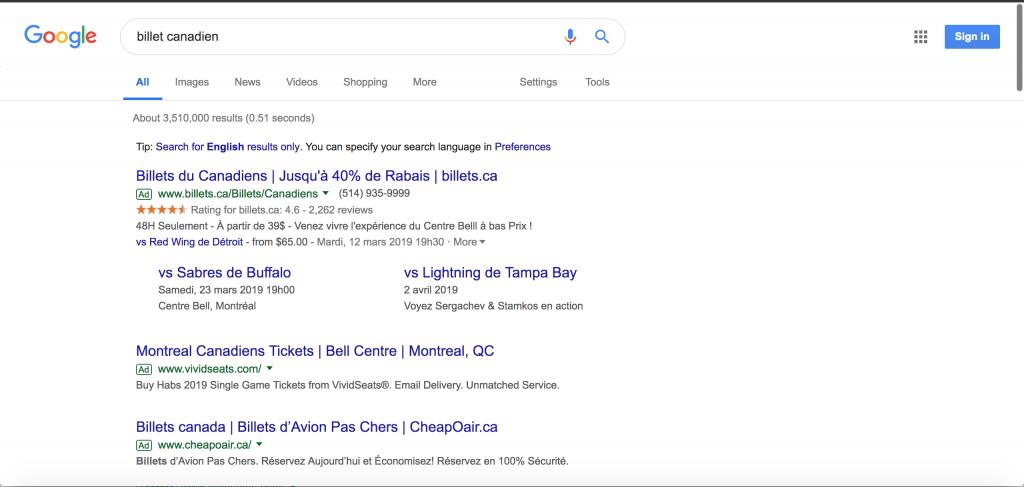 Recherche billet canadien de montreal sur google